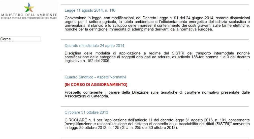 Il messaggio attualmente sul portale www.sistri.it